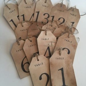 Set of 15 Numbered Tea Stained Tags, TABLE NUMBERS